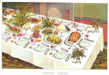 Mrs. Beeton's Supper Table illustration